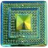 Glitz Sew-on Stone 10pcs Square 40mm Emerald Aurora Borealis